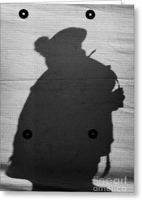 Protest Greeting Cards - Silhouette of British Army soldier on screen on crumlin road at ardoyne shops belfast 12th July Greeting Card by Joe Fox