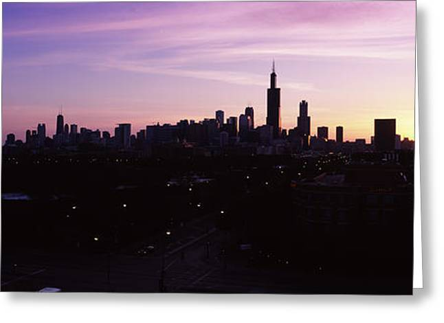 Locations Greeting Cards - Silhouette Of Buildings At Sunrise Greeting Card by Panoramic Images