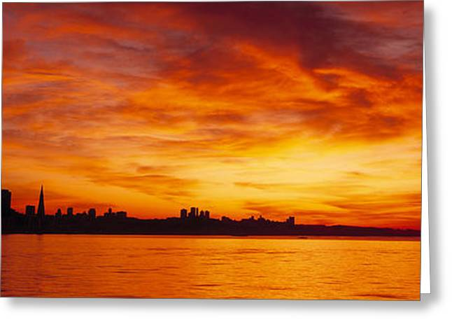 Romantic Photography Greeting Cards - Silhouette Of Buildings Greeting Card by Panoramic Images