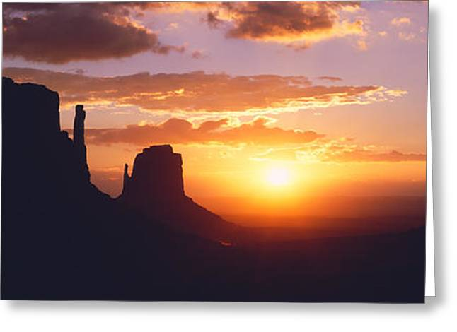 Desert Photography Greeting Cards - Silhouette Of Buttes At Sunset, The Greeting Card by Panoramic Images