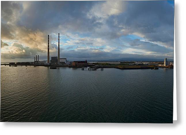 North Wall Greeting Cards - Silhouette Of Chimneys Of The Poolbeg Greeting Card by Panoramic Images