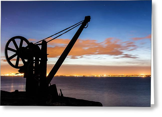Davit Greeting Cards - Silhouette of Davit Greeting Card by Semmick Photo