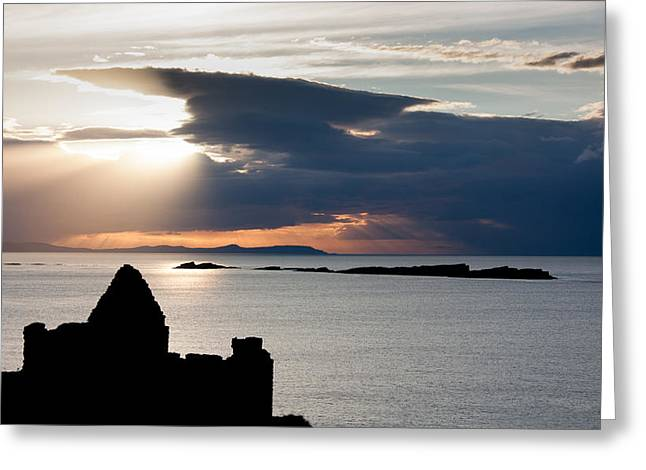 Silhouette Of Dunluce Castle Greeting Card by Semmick Photo