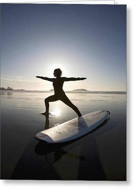 Surf Silhouette Greeting Cards - Silhouette Of Female Surfer Doing Greeting Card by Deddeda