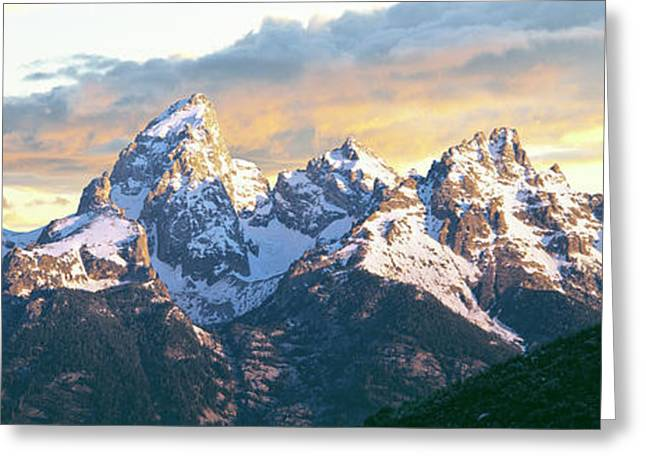 Silhouette Of Hiker Looking At Teton Greeting Card by Panoramic Images