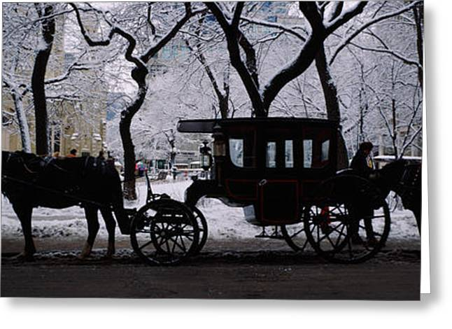 Old City Tower Greeting Cards - Silhouette Of Horse Drawn Carriages Greeting Card by Panoramic Images