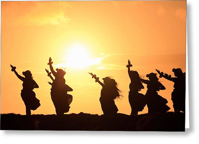 Arts Culture And Entertainment Greeting Cards - Silhouette Of Hula Dancers At Sunrise Greeting Card by Panoramic Images