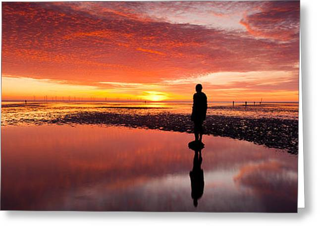 Merseyside Greeting Cards - Silhouette Of Human Sculpture Greeting Card by Panoramic Images