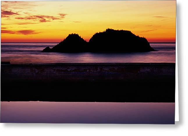 California Ocean Photography Greeting Cards - Silhouette Of Islands In The Ocean Greeting Card by Panoramic Images