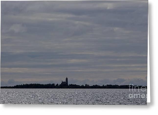 Watson Lake Greeting Cards - Silhouette of Isle Royale Lighthouse Isle Royale National Park Greeting Card by Jason O Watson