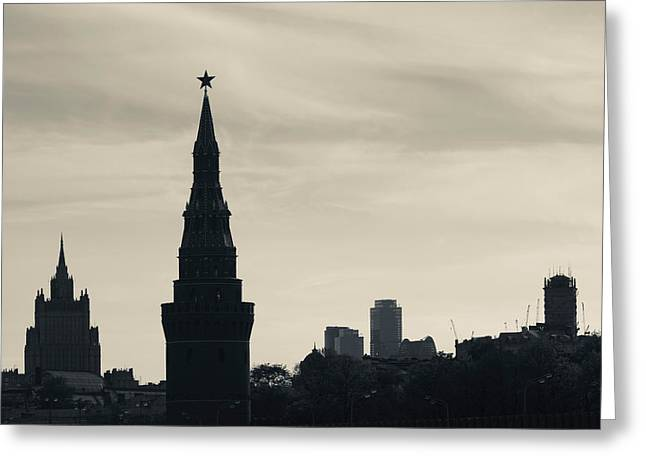 World Locations Greeting Cards - Silhouette Of Kremlin Towers, Moscow Greeting Card by Panoramic Images