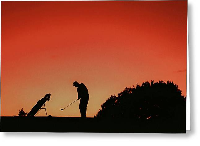 Caddy Paintings Greeting Cards - Silhouette of man playing golf  Greeting Card by Lanjee Chee