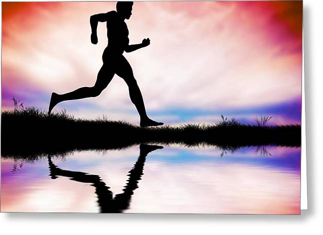 Jogging Greeting Cards - Silhouette of man running at sunset Greeting Card by Michal Bednarek