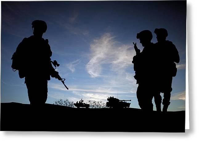 Iraq Conflict Greeting Cards - Silhouette of modern soldiers  Greeting Card by Matthew Gibson