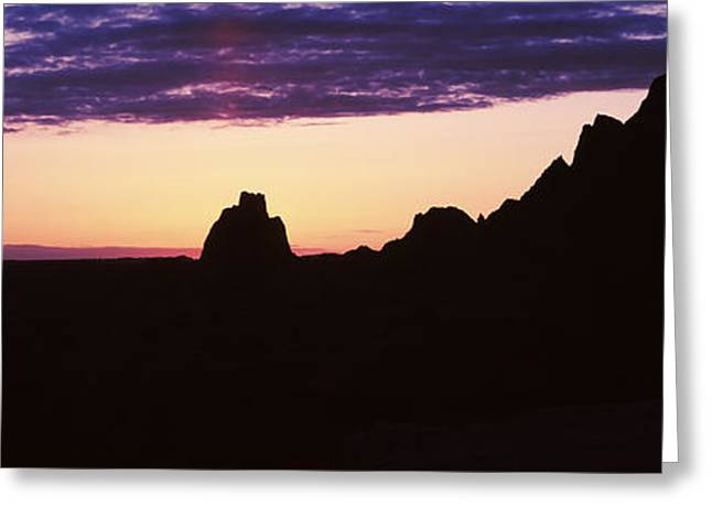 Badlands National Park Greeting Cards - Silhouette Of Mountains At Dusk Greeting Card by Panoramic Images