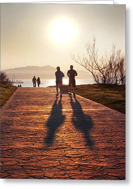 Jogging Greeting Cards - Silhouette Of People Jogging And Walking Greeting Card by Mikel Martinez de Osaba