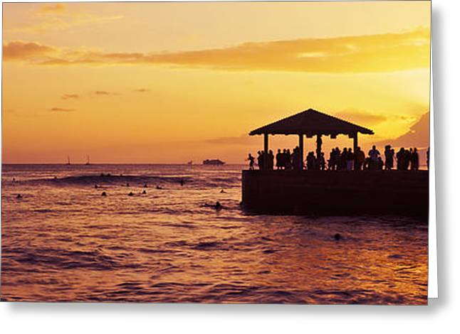 Ocean Photography Greeting Cards - Silhouette Of People On A Dock, Resort Greeting Card by Panoramic Images