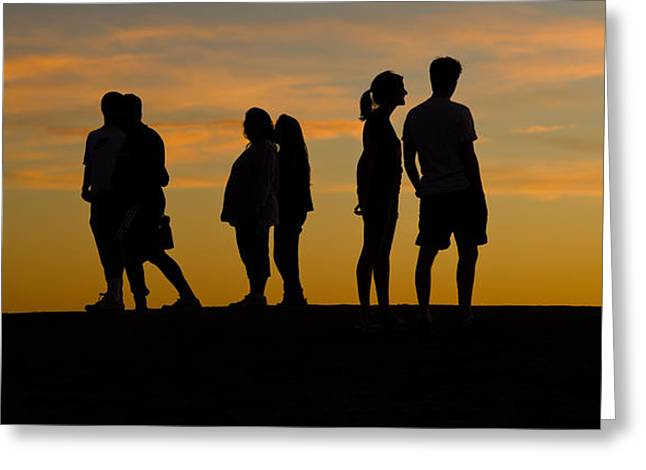 Medium Group Of People Greeting Cards - Silhouette Of People On A Hill, Baldwin Greeting Card by Panoramic Images