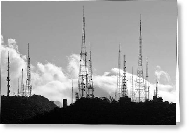 Science Greeting Cards - Silhouette of radio antennas Greeting Card by Celso Diniz
