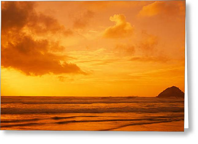 California Ocean Photography Greeting Cards - Silhouette Of Rock Formations In Water Greeting Card by Panoramic Images