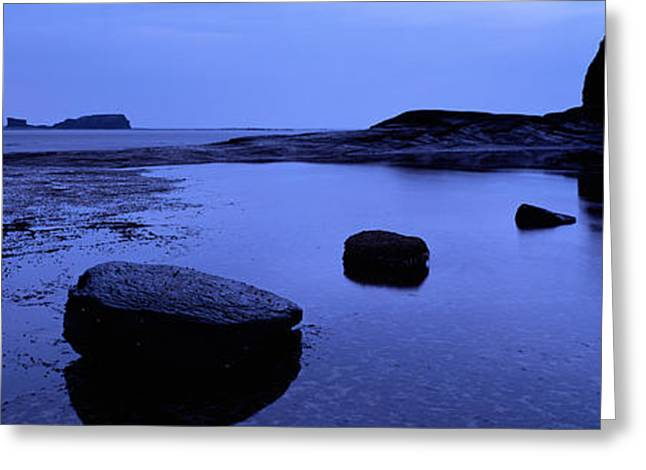 Whitby Greeting Cards - Silhouette Of Rocks On The Beach, Black Greeting Card by Panoramic Images