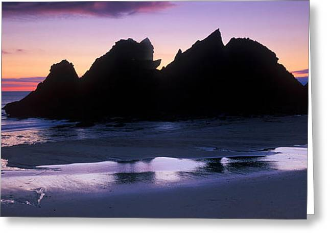 Water Over Rock Greeting Cards - Silhouette Of Rocks On The Beach, Erme Greeting Card by Panoramic Images