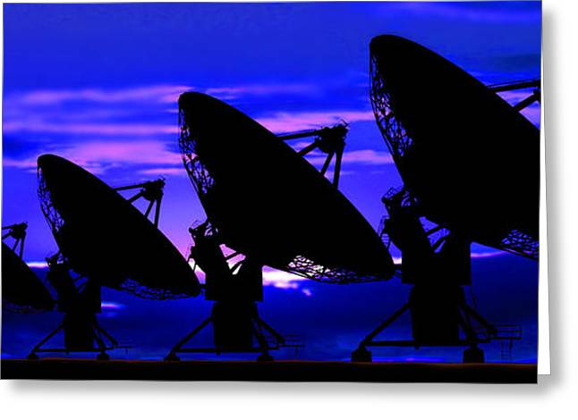 Global Communications Greeting Cards - Silhouette Of Satellite Dishes Greeting Card by Panoramic Images