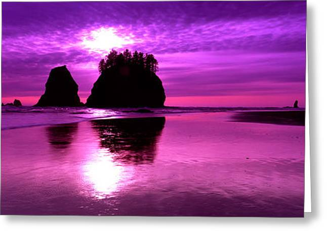 Stack Rock Greeting Cards - Silhouette Of Sea Stacks At Sunset Greeting Card by Panoramic Images
