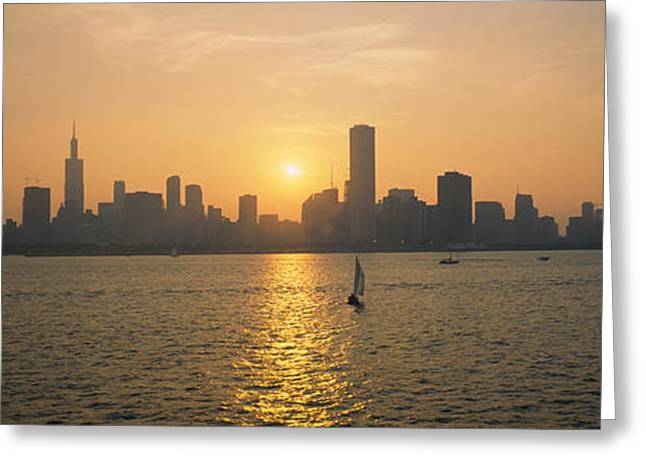 Sailboat Images Greeting Cards - Silhouette Of Skyscrapers Greeting Card by Panoramic Images