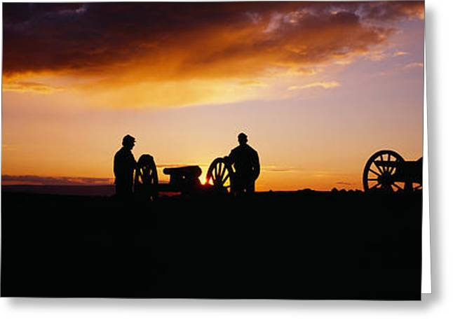 Civil Greeting Cards - Silhouette Of Statues Of Soldiers Greeting Card by Panoramic Images