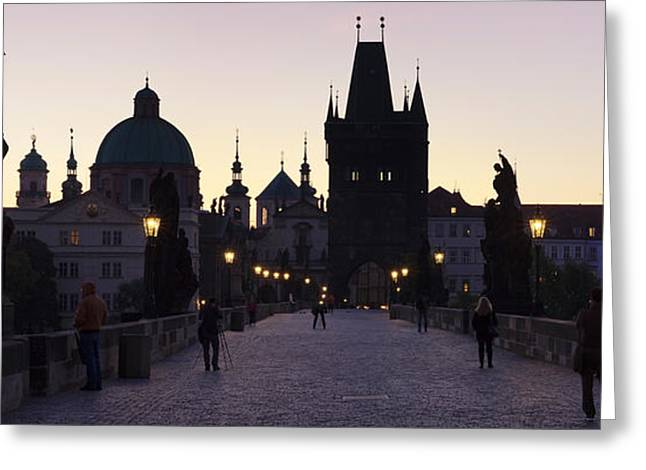 Bohemia Greeting Cards - Silhouette Of Statues On Charles Bridge Greeting Card by Panoramic Images