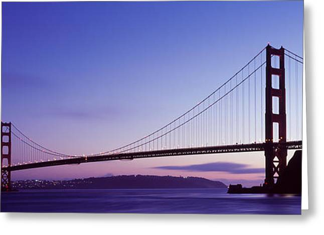 Famous Silhouettes Greeting Cards - Silhouette Of Suspension Bridge Greeting Card by Panoramic Images