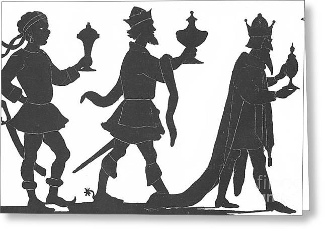 Silhouette Of Three Kings Greeting Card by English School