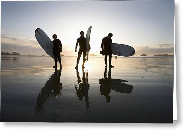 Surf Silhouette Greeting Cards - Silhouette Of Three Surfers Carrying Greeting Card by Deddeda