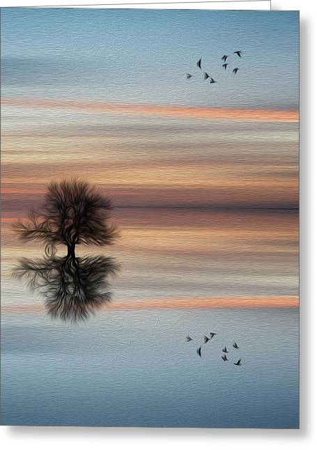 Despair Greeting Cards - Silhouette of tree on calm ocean water landscape at sunset digital painting Greeting Card by Matthew Gibson