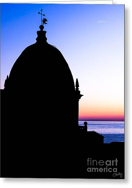 Charly Greeting Cards - Silhouette of Vernazza Duomo Dome Greeting Card by Prints of Italy