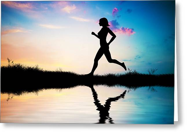 Jogging Photographs Greeting Cards - Silhouette of woman running at sunset Greeting Card by Michal Bednarek