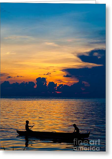 Exoticism Greeting Cards - Silhouette on peaceful sunset Borneo Malaysia Greeting Card by Fototrav Print