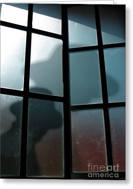 Detective Greeting Cards - Silhouette on Window Greeting Card by Carlos Caetano