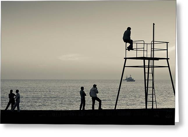 World Locations Greeting Cards - Silhouette People On Pier At Sunset Greeting Card by Panoramic Images