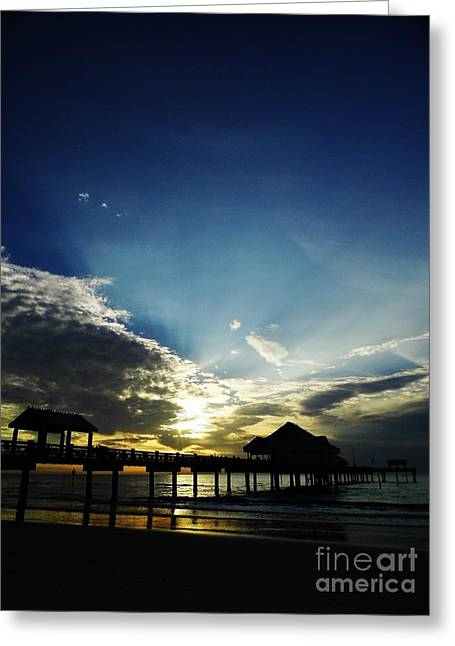 Reflection Of Sun In Clouds Greeting Cards - Silhouette Pier 60 Sunset Greeting Card by D Hackett
