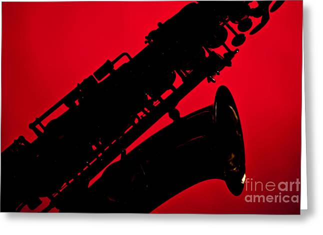 Silhouette Saxophone Instrument Bell In Color 3269.02 Greeting Card by M K  Miller