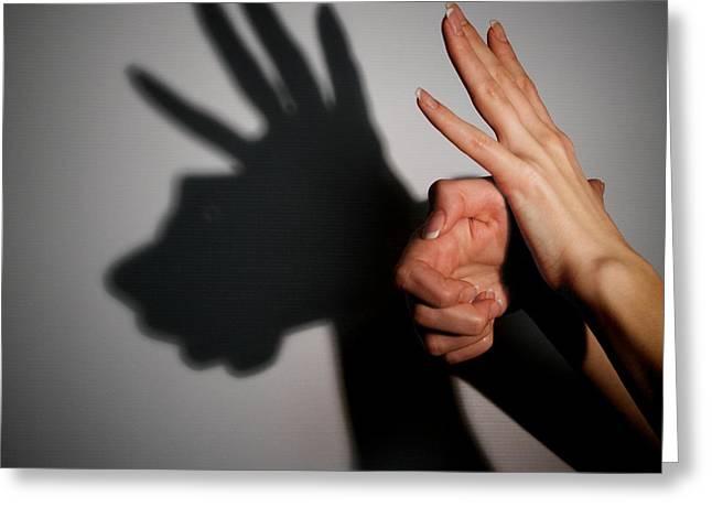 Human Image Greeting Cards - Silhouette Shadow Of Animal Greeting Card by Aleksey Tugolukov