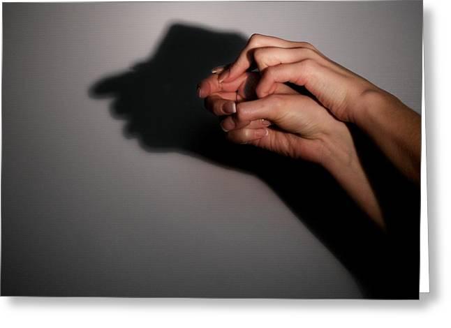 Human Image Greeting Cards - Silhouette Shadow Of Man Greeting Card by Aleksey Tugolukov