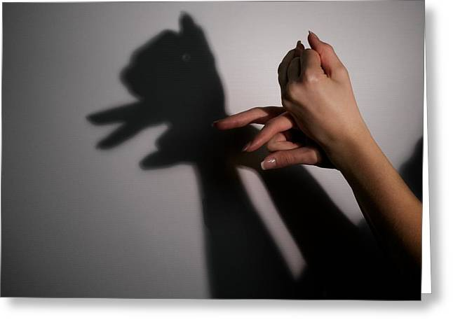 Human Image Greeting Cards - Silhouette Shadow Of Puppy Greeting Card by Aleksey Tugolukov