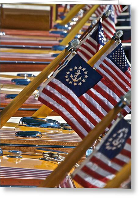 Mahogany Red Greeting Cards - Silhouette Stars and Stripes Greeting Card by Steven Lapkin