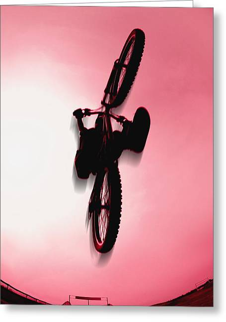 Extreme Lifestyle Greeting Cards - Silhouette Stunt Bike Rider Greeting Card by Corey Hochachka