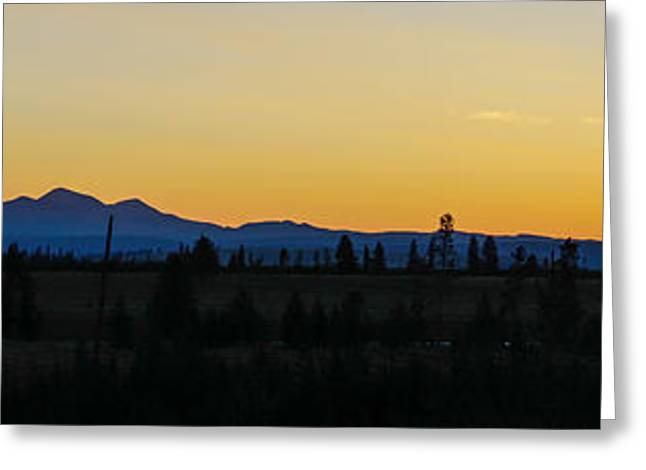 Sunset Framed Prints Greeting Cards - Silhouette Sunrise Yellowstone Pano Greeting Card by Jennifer White