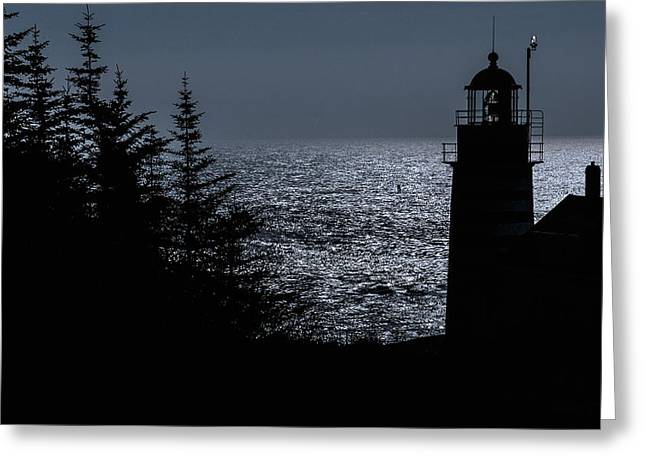 West Quoddy Light Greeting Cards - Silhouette West Quoddy Head Lighthouse Greeting Card by Marty Saccone
