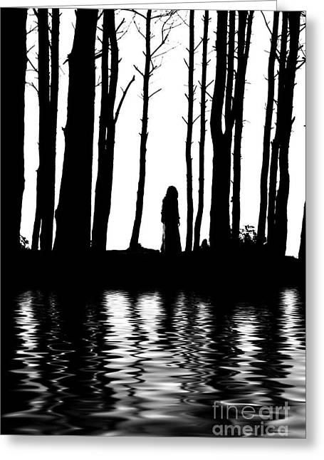 Recently Sold -  - Women Only Greeting Cards - Silhouette Woman Between Trees Water Reflections Greeting Card by Aleksey Tugolukov